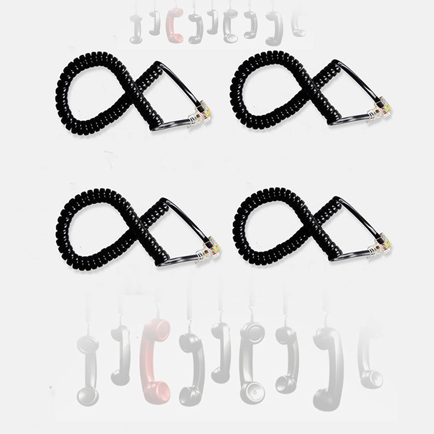 Telephone Cord, 8' Feet 4 Pack Black Coiled Telephone Phone Handset Cable Cord,Tangle-Free, Excellent Sound Quality, Handset Cable for Landline in Home or Office by-WNXJSX