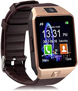 Penlight Bluetooth Smart Watch with Touchscreen, Multi Function TF and Sim Card with Camera, MultiLanguage Compatible with All Android and iOS Devices(Gold)