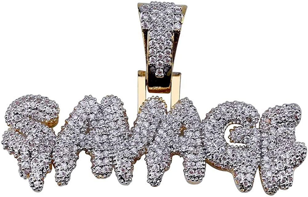ICE JEWELRY Hip Hop Iced Out Cubic Zircon Drip Bubble Letter Savage Pendant Necklace with 24inch Stainless Steel Rope Chain