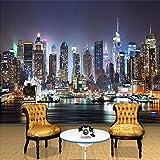 Papel tapiz fotográfico 3D personalizado pintura de pared nocturna de la ciudad de Nueva York papel tapiz mural artístico papel tapiz para sala de estar TV papel de pared decoración del hogar