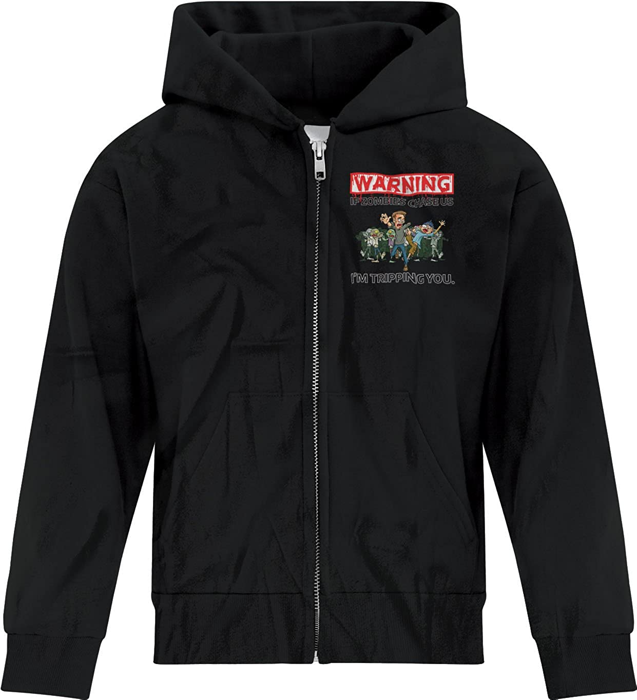 BSW Boys Warning If Zombies Chase us Im Tripping You Zip Hoodie