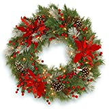 National Tree Company lit Artificial Christmas Wreath Collection Flocked with Mixed Decorations and Pre-strung White LED Lights, 30-Inch, Tartan Plaid