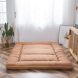 Japanese Floor Mattress Futon Mattress, Thicken Tatami Mat Sleeping Pad Foldable Roll Up Mattress Guest Mattress Pad Kids Floor Lounger Bed, Light Brown, Twin Size