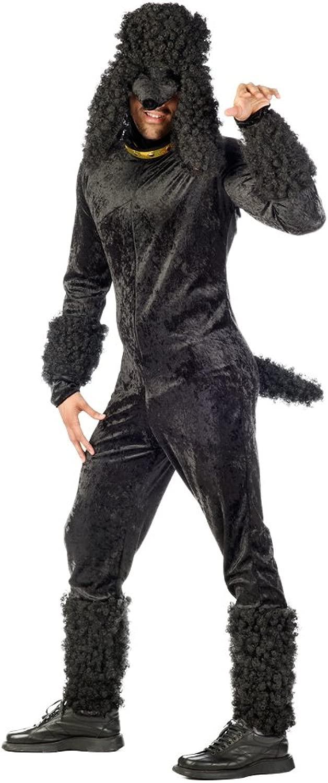 Costume da barboncino diverdeente per uomo - Costume per feste di addio al celibato - In due pezzi, tuta con copri capo - Nero - XL