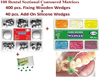 100 Dental Sectional Contoured Matrices Matrix Ring Delta 1.398 Tor VM + 40 Add-On Silicone Wedges + 400 Fixing Wooden Wedges