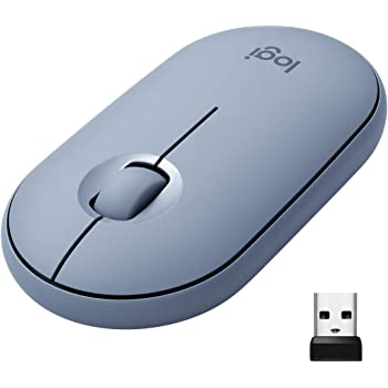 Logitech Pebble M350 Wireless Mouse with Bluetooth or USB - Silent, Slim Computer Mouse with Quiet Click for iPad, Laptop, Notebook, PC and Mac - Blue Grey