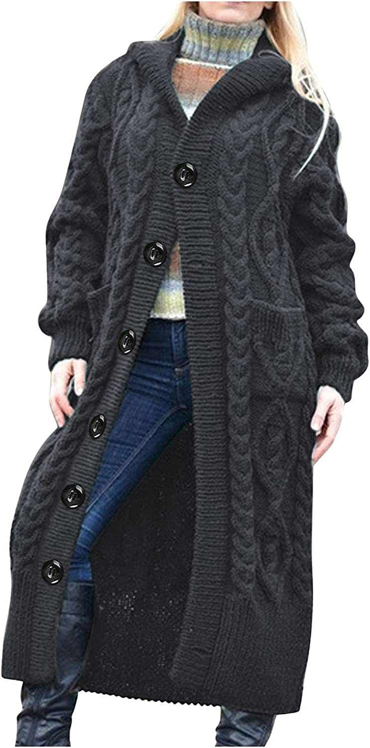 Oversize Sweater Cardigan for Women Pocket Long Cable Knit OpenFront Button Coat