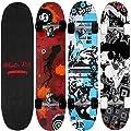 Deuba Atlantic Rift Skateboard Skate Board Komplettboard Deck Funboard Holzboard ABEC 9 80x24cm Ahornholz -?Farb- & Motivauswahl?