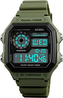 Mens Digital Watch Rubber Strap Backlight Timer Waterproof Alarm Clock LED Multifunction Sports Watch