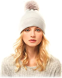 Me Plus Women Fashion Fall Winter Soft Cable Knitted Faux Fur Pom Pom Beanie Hat