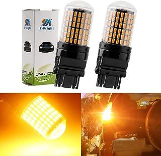 EverBright 2800Lumen 3157 Led Bulb Amber, No Hyper Flash 3056 3156 3457 4157 Led Bulb for Brake Light Bulb, Canbus Error Free Led Brake Lights Yellow 3014 Chipset 144SMD (Pack of 2)