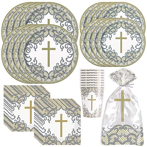 Unique Fancy Gold & Silver Cross Dinnerware Party Bundle | Dinner & Dessert Plates, Luncheon Napkins, Cups, Cellophane Bags | Son Confirmation Event Supplies Decorations