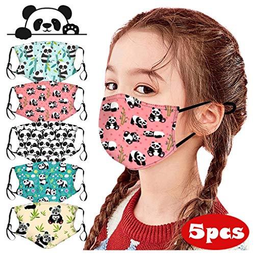 Baohooya 5 Stück Mundschutz Kinder Cartoon-Panda Lustige Drucke Waschbar Wiederverwendbar Baumwolle Face Cover (B)