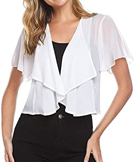 Bravetoshop Women's Short Sleeve Shrug Cardigan Knit Open Front Cropped Outwear Tops
