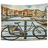 Tapices Bisycle Canal tradicional holandés Holanda Fachadas de la casa Canales Bicicletas antiguas Vintage Hitos turísticos Tapiz Manta de pared Hogar