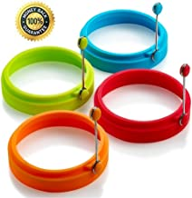 Silicone Egg Rings Non Stick egg frying rings, Fried and Poached Egg and Pancake Cooking Rings (Multicolor)