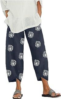 Kishan Bedding Wide Leg Plus Size Print Capri Pants for Women Summer Casual Cropped Pants Harem Trouser with Pocket