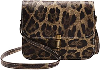 Zegeey Women's Leopard Print Fawn Pendant Shell Shoulder Bag Messenger Bag Pu Leather Shoulder Bags Shell Model Handbag