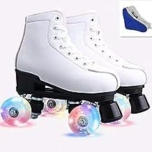 XUDREZ Roller Skates Adjustable Soft Leather High-top Roller Skates Four-Wheel Roller Skates Fun Shiny Roller Skates for Adult, Boys, Girls