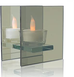 BANBERRY DESIGNS Infinity Tealight Candle Holder - Mirrored Glass Holder with LED Tealight Included- Seasonal, Party and Everyday