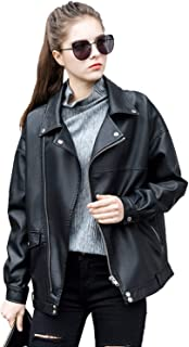 LY VAREY LIN Women Faux Leather Jacket Lapel Collar Motorcycle Zip Up Long Sleeve Motor Biker Short Coat Jacket