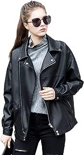 LY VAREY LIN Women Faux Leather Jacket Lapel Collar Motorcycle Zip Up Long Sleeve Motor Biker Short Coat Jacket