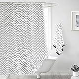 Duschvorhang waschbar Vorhang Digitaldruck inkl. Vorhangringe Anti Schimmel Welle Zick Zack Motiv Badezimmer Badewanne (240 x 200cm BxH)