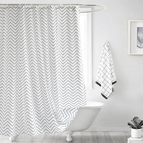 JameStyle26 Duschvorhang Waschbar Vorhang Digitaldruck inkl. Vorhangringe Anti Schimmel Welle Zick Zack Motiv Badezimmer Badewanne (180 x 200cm BxH)