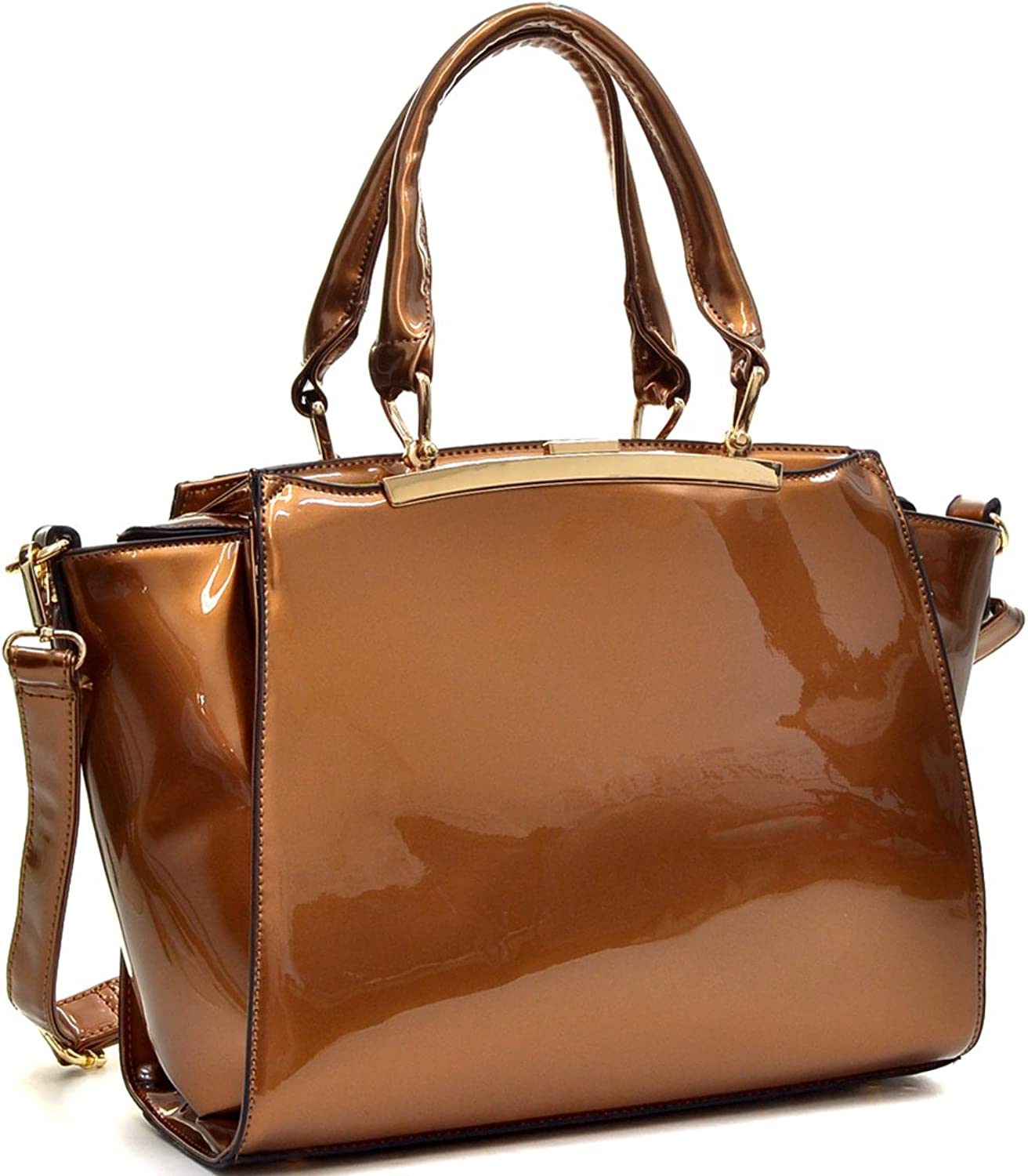 Dasein Patent Leather Winged Satchel Shoulder Bag Handbag with Hidden Side Pockets