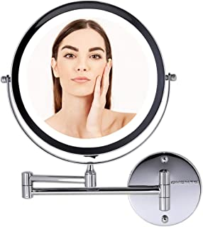 Ovente Battery Operated LED Lighted Wallmount Vanity Makeup Mirror, 1x/7x Magnification, 8.5 inch, Polished Chrome