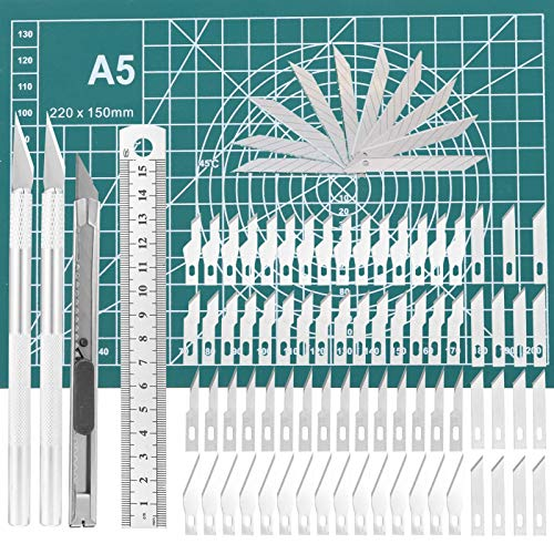 umorism Craft Knives Set, 125 Pieces Precision Carving Craft Hobby Knife Kit Includes Hobby Knife Carving Knives Blades Cutting Mat Stainless Steel Ruler for Art Hobby Craft