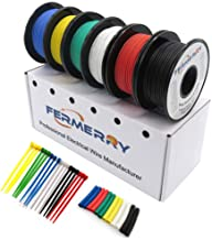 Fermerry 12 Gauge Stranded Wire Electrical Wire 12 AWG Silicone Cables Hook up Wire Kit 6 Colors 5Ft Each (5FT 6 Colors, 1...