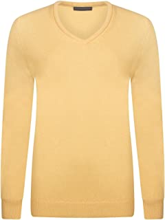 Great & British Knitwear Ladies HL100 100% Lambswool Plain V Neck Sweater. Made in Scotland-Mimosa-Medium