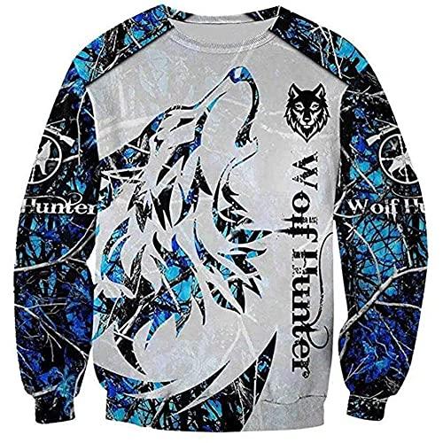 Fenrir Wolf Hunter Hoodies 3D Impreso Azul Blanco Lindo Animal Casual Chaqueta con Capucha Otoño Hombres Jóvenes Y Mujeres Camisa Pullover,Sweatshirt,XS