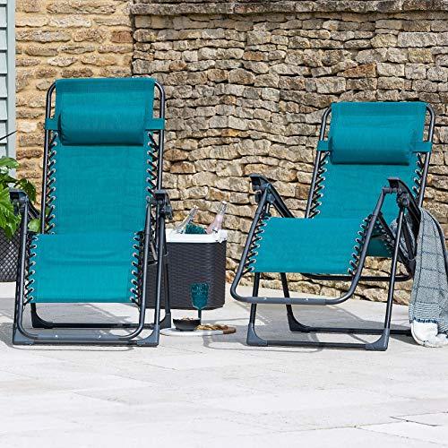 Set di 2 sedie a sdraio in metallo Zero Gravity – Verde/Teal Premium Heavy Duty modelli (sdraio da giardino reclinabile, sedia da spiaggia)