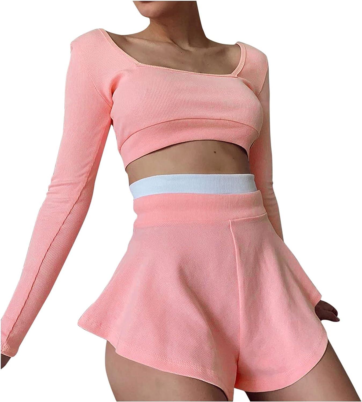 Women Suits Sets, Women's Fashion Sports Suit Color Matching Slim Fit Top Sexy Skirt Pants Suit