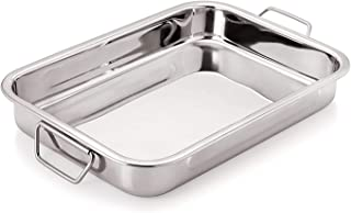 Jayco Luxuria Stainless Steel Roast Pan with Folding Handles/Lasagna Tray for Baking, Roasting, Grilling, Serving (25 x 18...