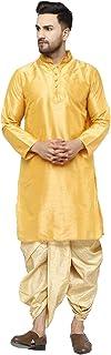 SKAVIJ Men's Art Silk Dhoti Kurta Set Party Wear Ethnic Dress