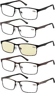 عینک آفتابی 5 عینک مردانه فلزی قاب مستطیلی مواد فولادی ضد زنگ لولا بهار شامل خوانندگان کامپیوتر +1.50
