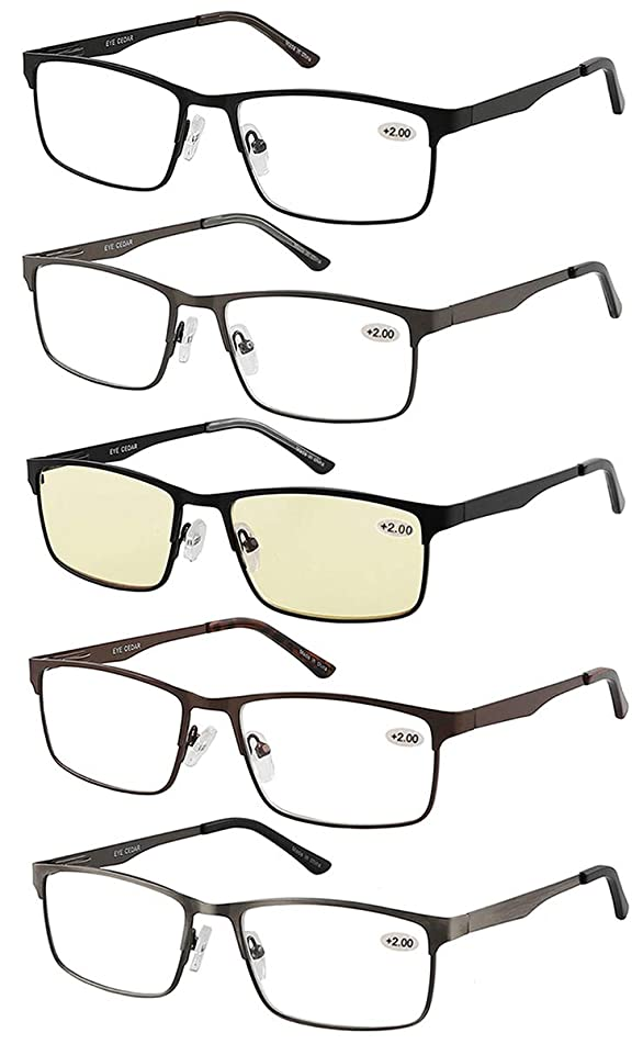 Eyecedar 5-Pack Reading Glasses Men Metal Frame Rectangle Style Stainless Steel Material Spring Hinges Includes Computer Readers +1.75
