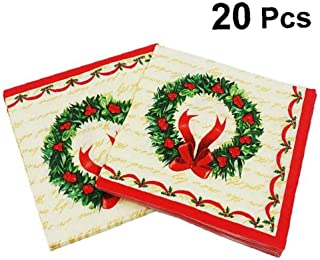 A Set of Christmas Theme Paper Napkins Gold 39x39 cm, x50 100/% Biodegradable and Recyclable Double Point Cotton Wadding
