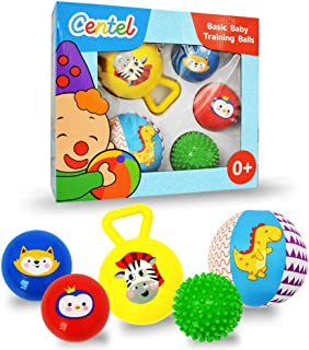 Centel Multi Sensory Ball Set - Soft Massage Ball Squeaky Ball Rattle Ball Small Bounce Ball Fabric Ball with Chiming Bell for Kids Toddlers (5 Packs)