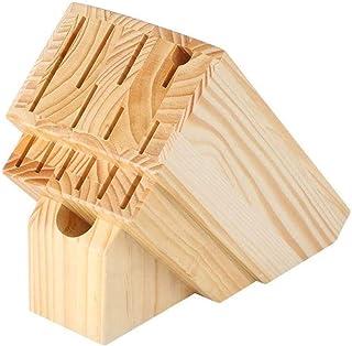 DUDDP Cuisine Porte-couteau Couteau en bois massif Support étagère de rangement Couteau universel Organisateur de stockage...