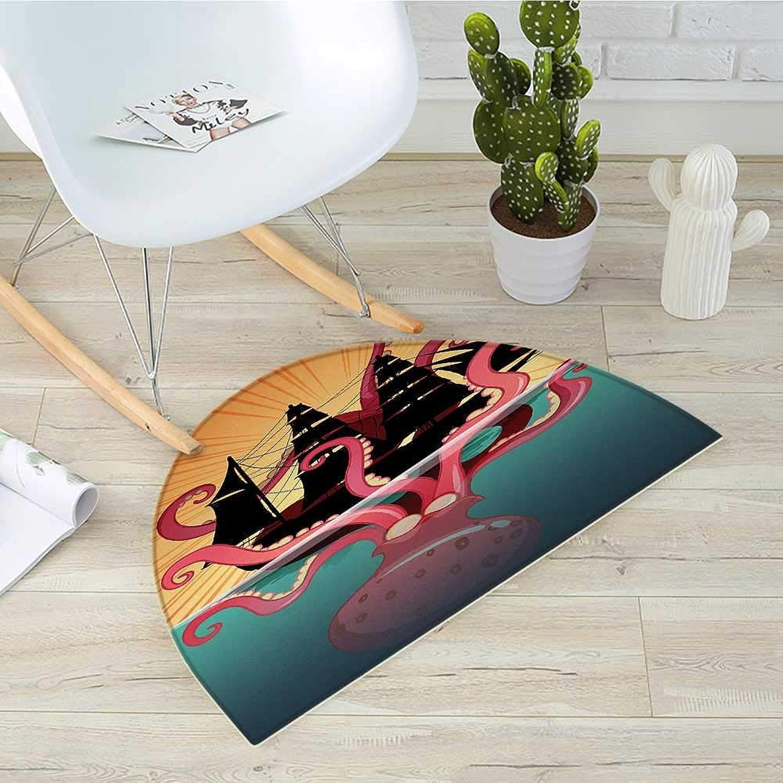 Kraken Semicircle Doormat Coral Sea Monster Sinking The Boat Retro Myths Ocean Folk Stories Inspired Artwork Halfmoon doormats H 31.5  xD 47.2  Multicolor