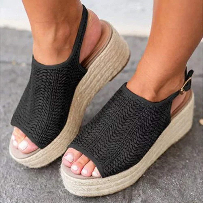 Mellows Espadrille Wedge Sandals Casual Summer Peep Toe Slingback Platform Sandals shoes