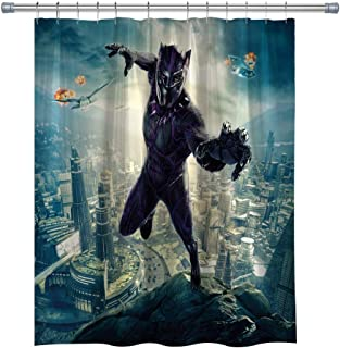 Super Hero Shower Curtains,Black Panther Waterproof Polyester Fabric Bathroom Curtain, Decor Shower Curtain Set Hooks Included, 71X 71 in
