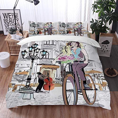 Qinniii Bedsure Funda Nórdica,Parisina con Bicicleta y Rose Young Girl en La...