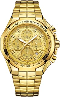 Lixada 8868 Business Quartz Men Watch 5ATM Waterproof Military Sports Luminous Watch Chronograph Calendar Skeleton Wristwatch with 4 Sub-dials Stainless Steel Strap Band