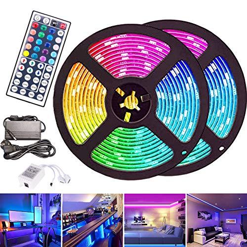 VINGO LED Streifen 3M LED Strip RGB LEDs Band mit 44 Tasten IR Fernbedienung 12V LED Klebestreifen 180 LEDs
