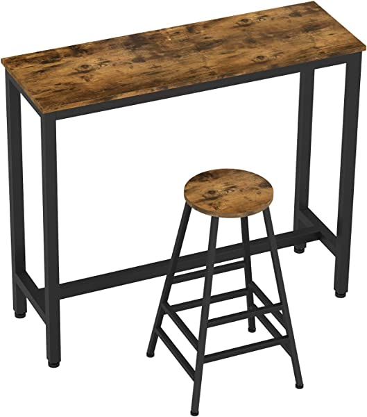 IRONCK 2 Piece Pub Bar Table Set 47 2 L 15 7 W 39 4 H Industrial High Top Table With Bar Stool Chair MDF Board And Metal Vintage Brown